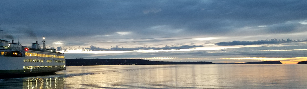 Sky over Whidbey Island with ferry